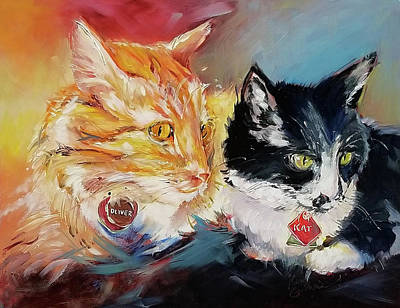 Wall Art - Painting - Kitty Cats Oil Painting by Kim Guthrie