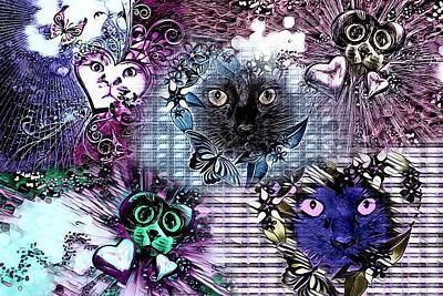 Cabochon Wall Art - Digital Art - Kitty College By Artful Oasis 2 by Artful Oasis