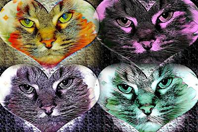 Cabochon Wall Art - Digital Art - Kitty College By Artful Oasis 6 by Artful Oasis