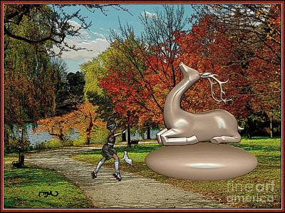 Kitty Dancing In Front Of The Statue Of The Deer Original