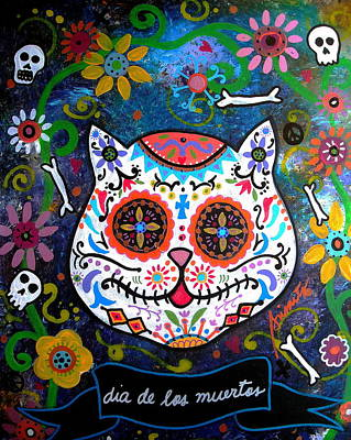 Tree Of Life Painting - Kitty Day Of The Dead by Pristine Cartera Turkus