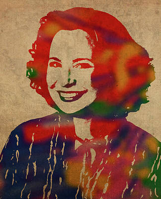 Kitty Mixed Media - Kitty Forman Watercolor Portrait by Design Turnpike