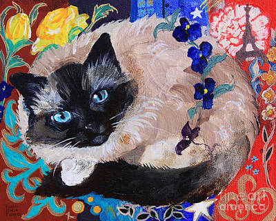Kitty Goes To Paris Art Print by Robin Maria Pedrero