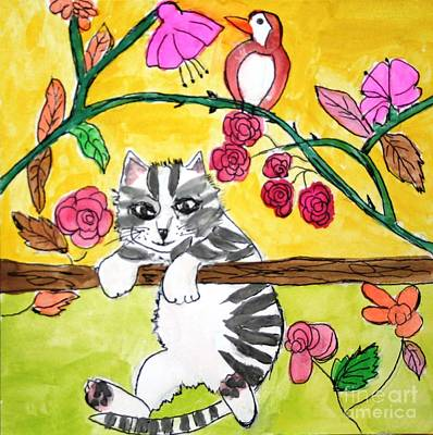 Painting - Kitty Hanging On by Victoria Hasenauer