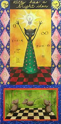 Kitty Has A Bright Idea Art Print by Pauline Lim