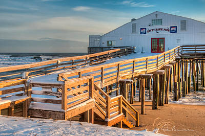 Dan Beauvais Royalty-Free and Rights-Managed Images - Kitty Hawk Pier in Snow 6652 by Dan Beauvais