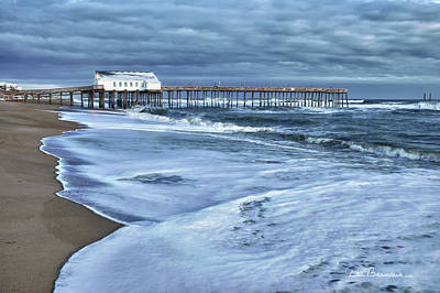 Dan Beauvais Royalty-Free and Rights-Managed Images - Kitty Hawk Pier in Snow 6852 by Dan Beauvais