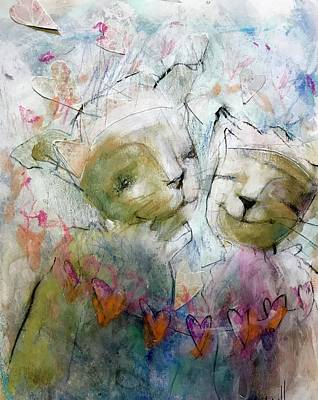 Painting - Kitty Hearts by Eleatta Diver
