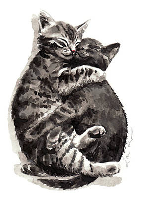 Nap Painting - Kitty Hugs by Laura Row