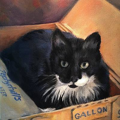 Painting - Kitty In A Box by FayBecca Designs