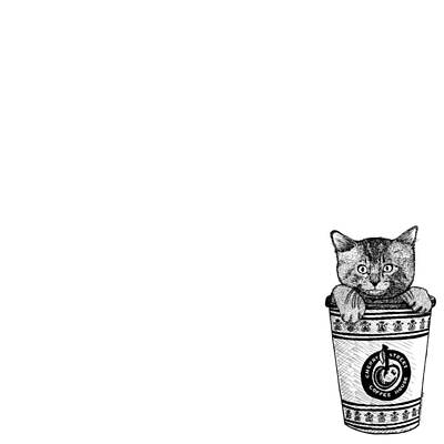 Kitty In A Coffee Cup Art Print by Karl Addison