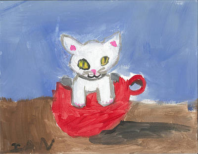 Painting - Kitty In A Red Cup by Ian Reynolds