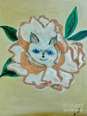 Painting - Kitty In The Magnolia Blossom by Marie Bulger