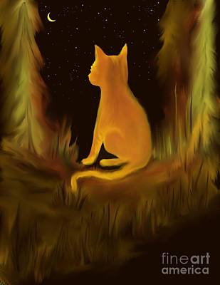 Orange Tabby Digital Art - Kitty In The Moonlight by Rhonda Lee