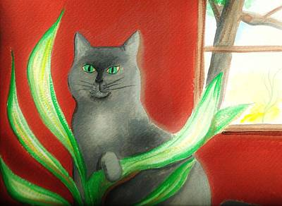 Painting - Kitty In The Plants by Denise F Fulmer