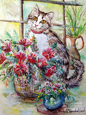 Art Print featuring the painting Kitty In The Window by Linda Shackelford
