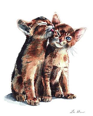Kitty Kisses Abyssinian Kittens Brother Sister Art Print