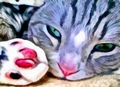 Broadcast Painting - Kitty Paws Realistic by Catherine Lott