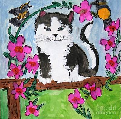 Painting - Kitty Sitting On Fence by Victoria Hasenauer