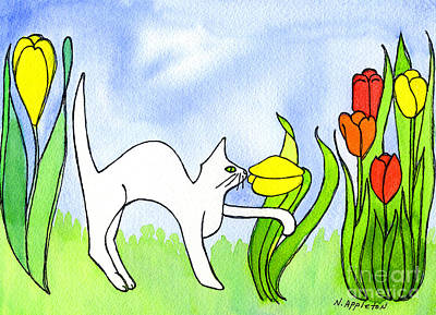 Kitty Sniffing Tulips Art Print