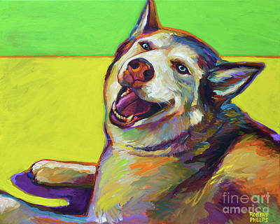 Painting - Kitty, The Husky by Robert Phelps