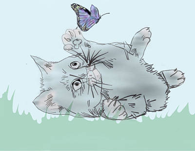 Lavender Drawing - Kitty Time by Milee S