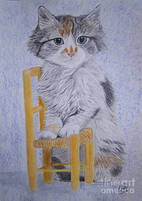 Kitty With Chair Original by Cybele Chaves