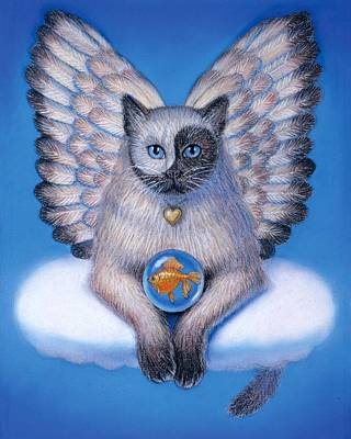 Fairy Art Painting - Kitty Yin Yang- Cat Angel by Sue Halstenberg