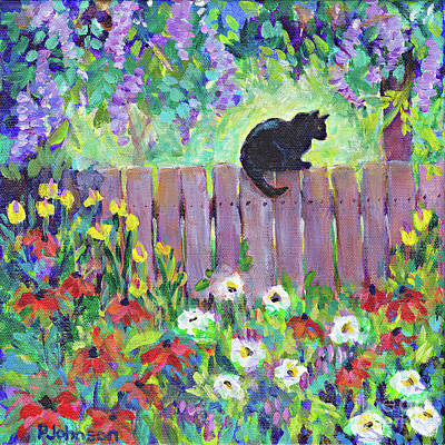 Painting - Kitty's Fence By Peggy Johnson by Peggy Johnson