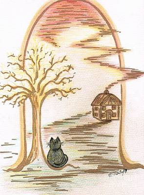 Drawing - Kittys Home by Teresa White
