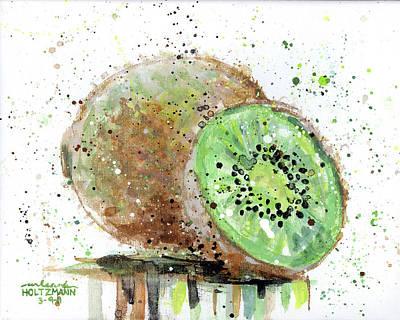 Drips Painting - Kiwi 2 by Arleana Holtzmann