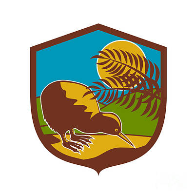 Kiwi Bird Digital Art - Kiwi Bird Moon Fern Mountain Shield Retro by Aloysius Patrimonio