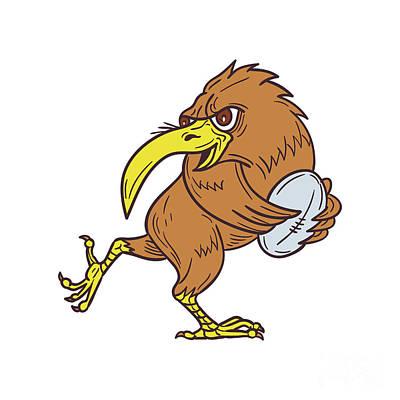 Kiwi Digital Art - Kiwi Bird Running Rugby Ball Drawing by Aloysius Patrimonio