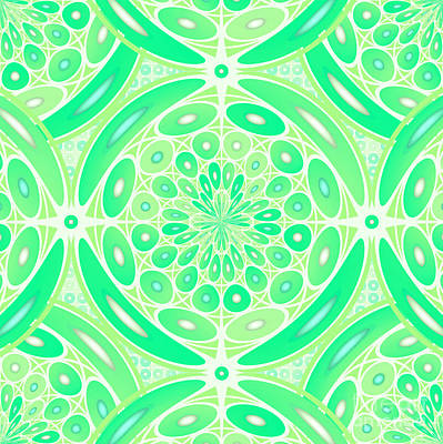 Kiwi Green Geometric Art Print by Gaspar Avila
