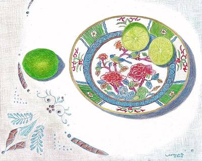 Fruit Colored Pencil Drawing Painting - Kiwi by Loraine LeBlanc