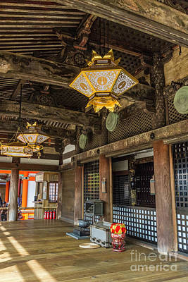 Photograph - Kiyomizudera Central Hall Ornate Ceiling by Karen Jorstad