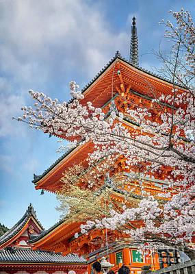 Photograph - Kiyomizudera Pagoda Through Cherry Blossoms by Karen Jorstad