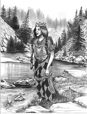 Drawing - Klamath Indian Woman by Cheryl Poland