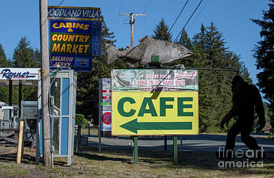 Photograph - Klamath Roadside Scene With Bigfoot by Gregory Dyer