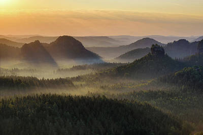 Photograph - Kleiner Winterberg Silhouettes, Saxon Switzerland, Germany by Marek Kijevsky