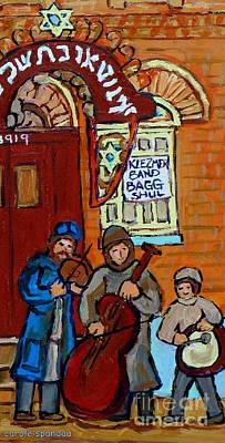 Painting - Klezmer Band Live Performance At Bagg Synagogue Montreal Street Scene Jewish Art Carole Spandau      by Carole Spandau