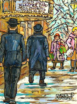 Painting - Klezmer Band Rialto Marquee Winter Scene The Jewish Street Park And Bernard Montreal Carole Spandau by Carole Spandau