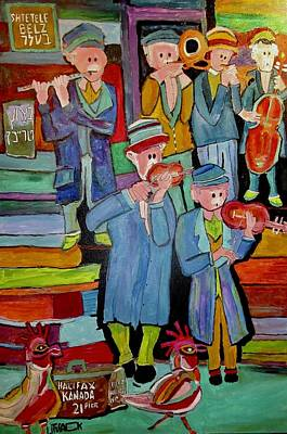 Painting - Klezmer Band With Chickens by Michael Litvack