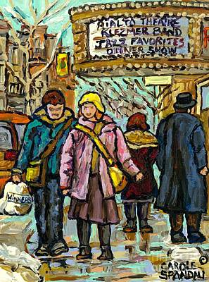 Painting - Klezmer Jazz Marquee Rialto Park Ave Winter Walk Girl In Pink Jacket Montreal  Art Carole Spandau  by Carole Spandau