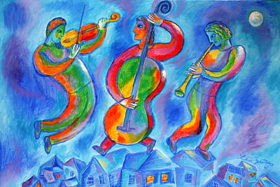 Musicians Paintings - Klezmer On The Roof by Leon Zernitsky