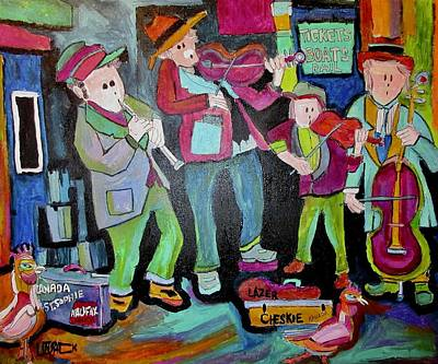 Painting - Klezmer Playing For Tickets by Michael Litvack