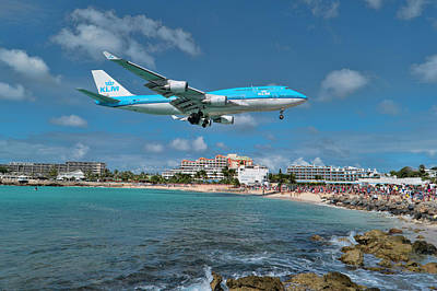 Photograph - K L M 747 At St. Maarten by David Gleeson