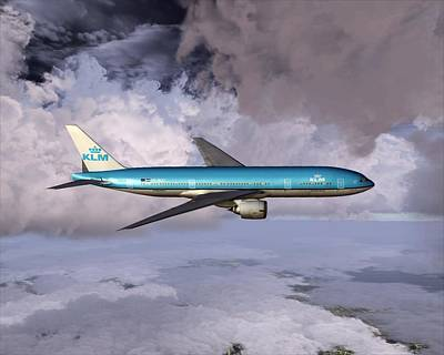 Digital Art - Klm Boeing 777 by Mike Ray