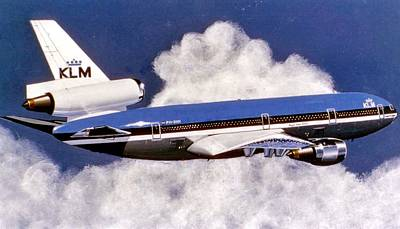 Retro Wall Art - Painting - Klm Dc-10 by Peter Ring Sr