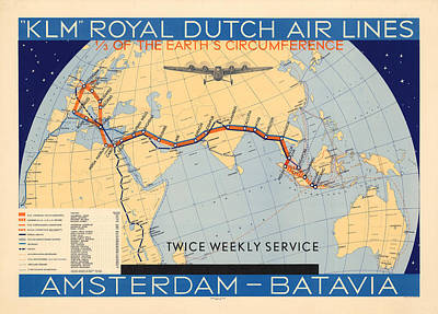 Mixed Media - Klm Royal Dutch Airlines - Amsterdam To Batavia - Map Of The Air Route - Historical Map by Studio Grafiikka